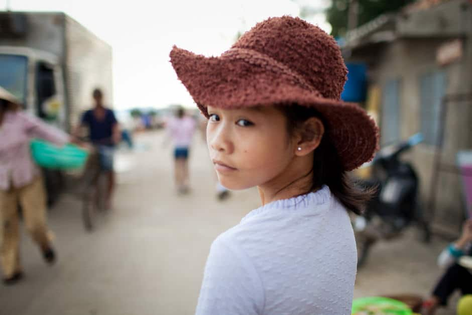 Vietnamese girl with a hat