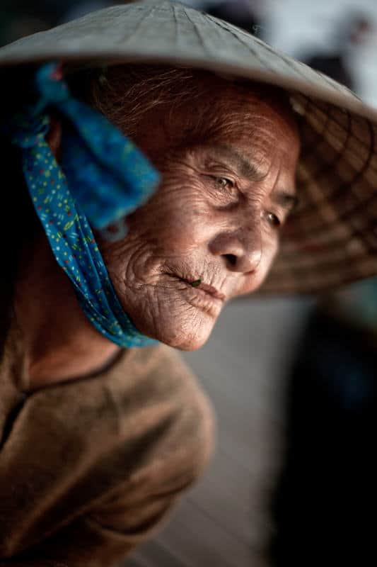 Portrait of an old lady in Vietnam