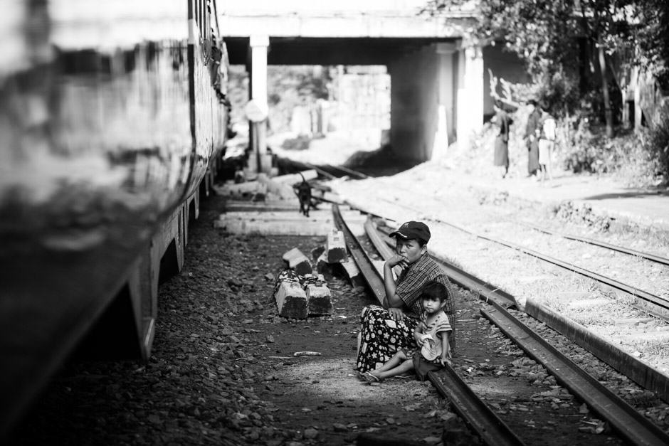 woman and son on the railway in Myanmar