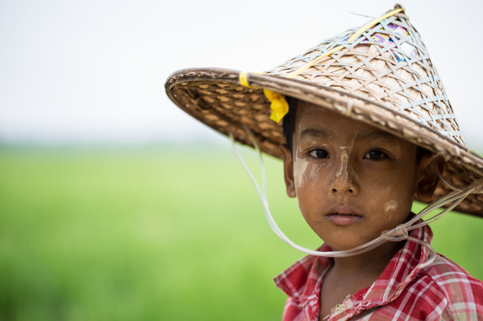 Young boy with Thanaka in Myanmar