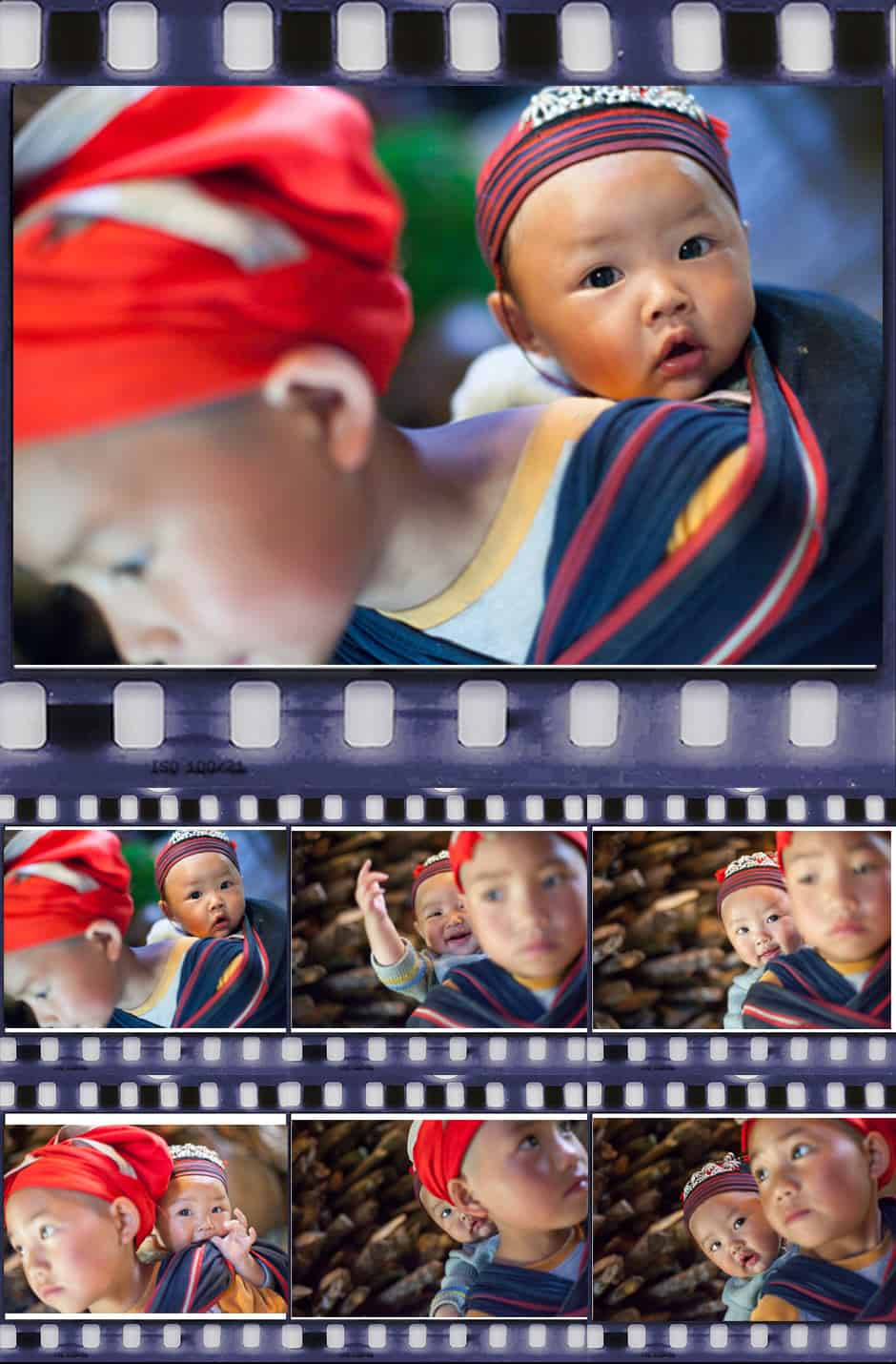 contact sheet of red dzao boys in Vietnam