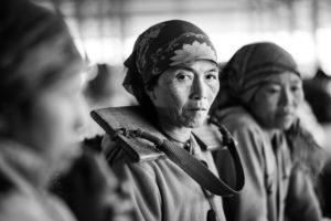 black and white photo of Kmu women in Laos