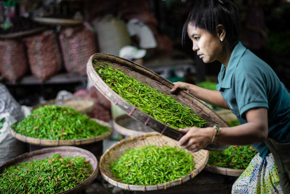 woman selling green chilli in a market in Myanmar