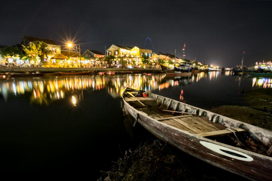 A landscape of Hoi An old town at night