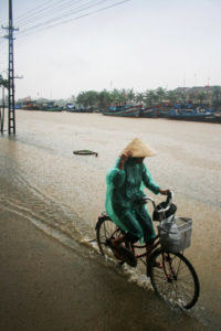 bicycle in the rain in Vietnam