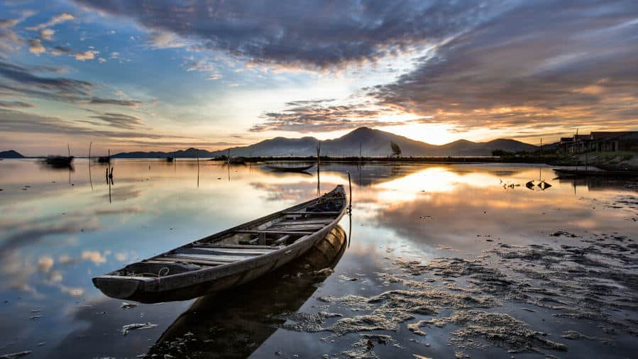 Sunrise on Tam Giang lagoon
