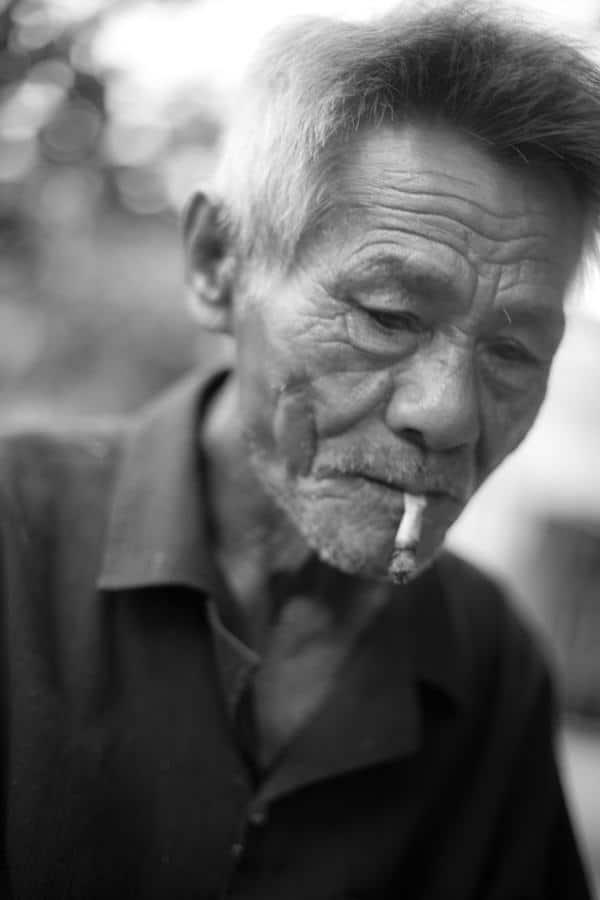 A soft portrait of an old Vietnamese man