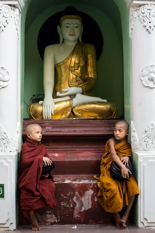 2 young novices in Shwedagon pagoda, Myanmar.
