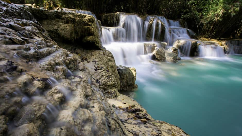 Long exposure of the famous waterfalls near Luang Prabang, Laos