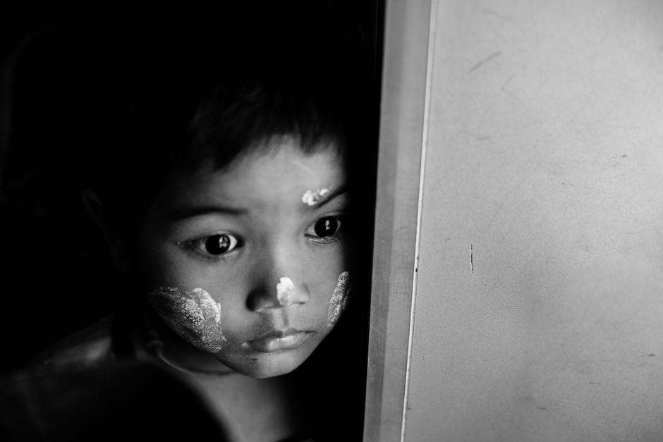 A young Burmese girl in a train, Yangon.