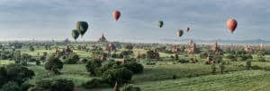 Panorama of the temples of Bagan from a hot air balloon in Myanmar during a photography tour by Pics of Asia