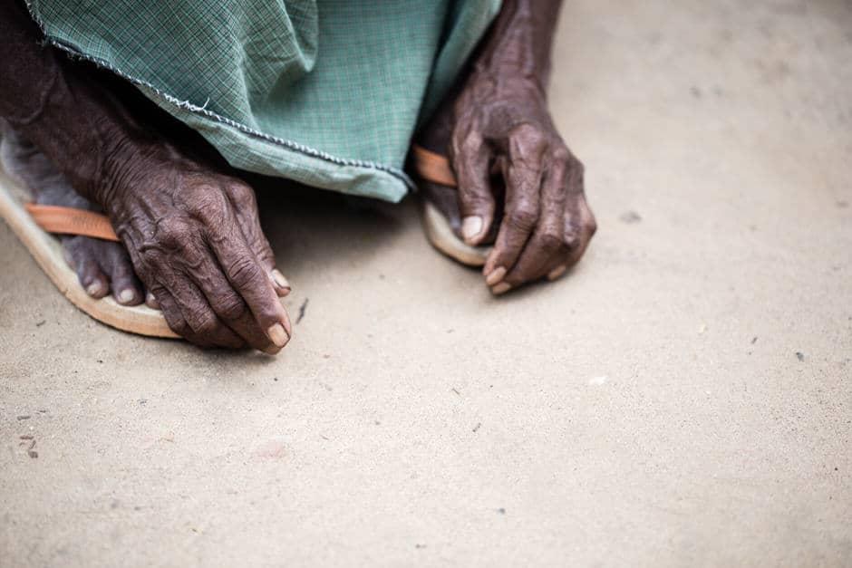 Old Burmese man's hands
