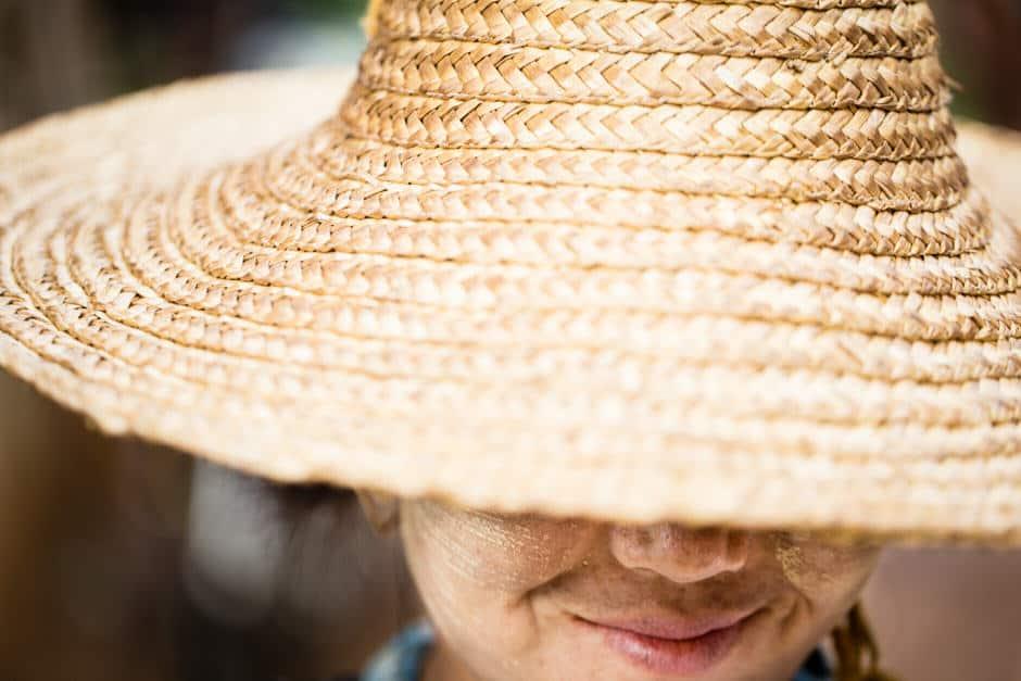 Woman selling peanuts in Myanmar