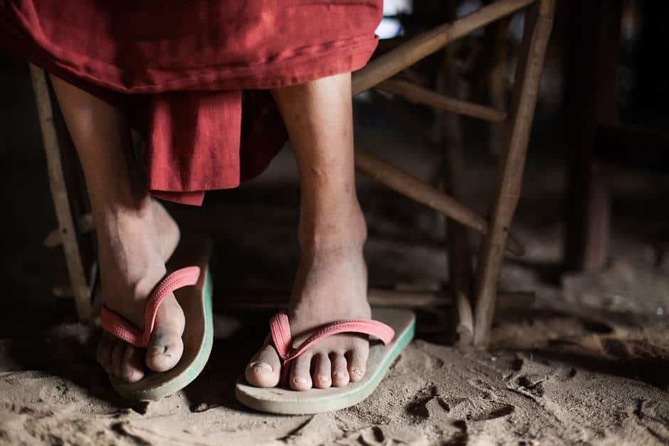 Feet of a monk in Myanmar