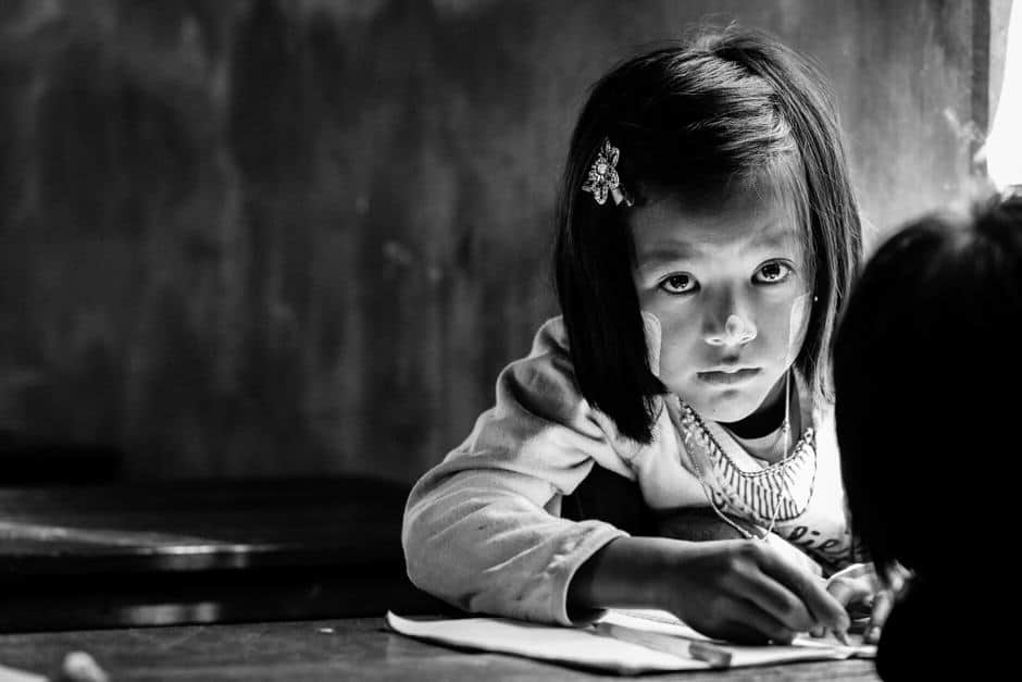 Young girl in a classroom in Myanmar