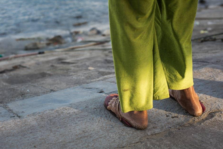 Legs of an old Vietnamese woman