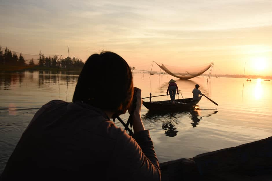 fisherman at sunrise during Vietnam photo workshop