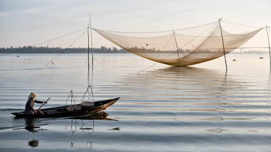 Fishing net on the river in Vietnam