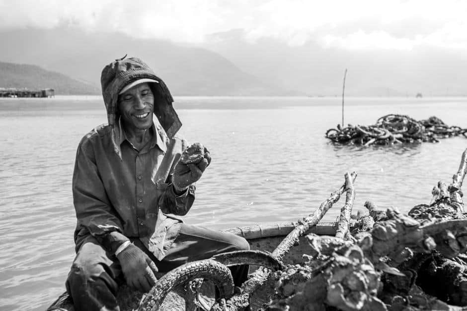man in Vietnam harvesting oysters