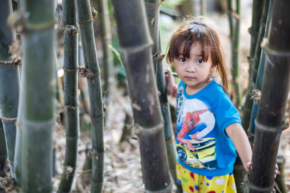 Vietnamese girl playing in bamboos