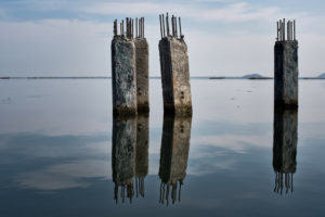 pylons in Tam Giang lagoon