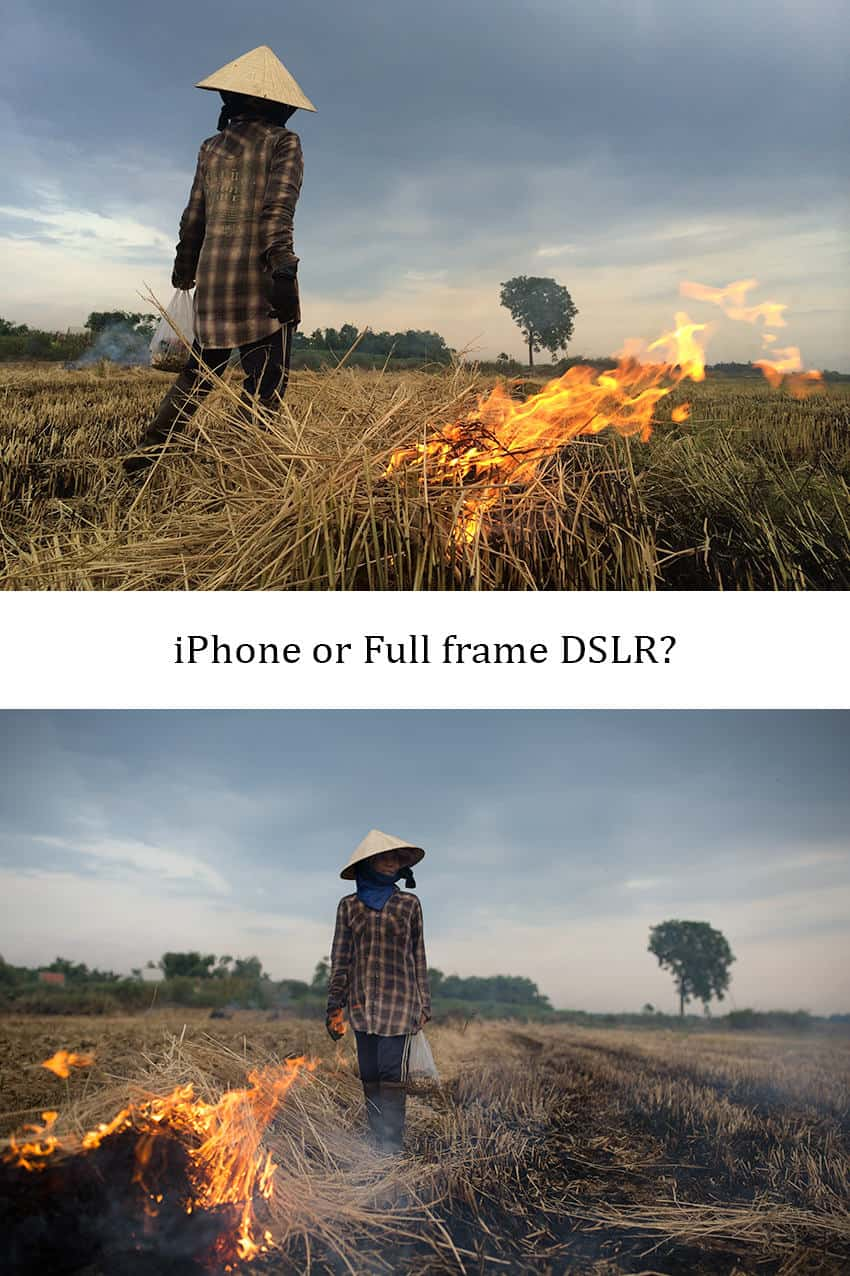 comparison between iPhone and SLR camera