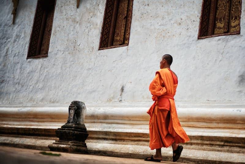 Monk walking in Luang Prabang, Laos