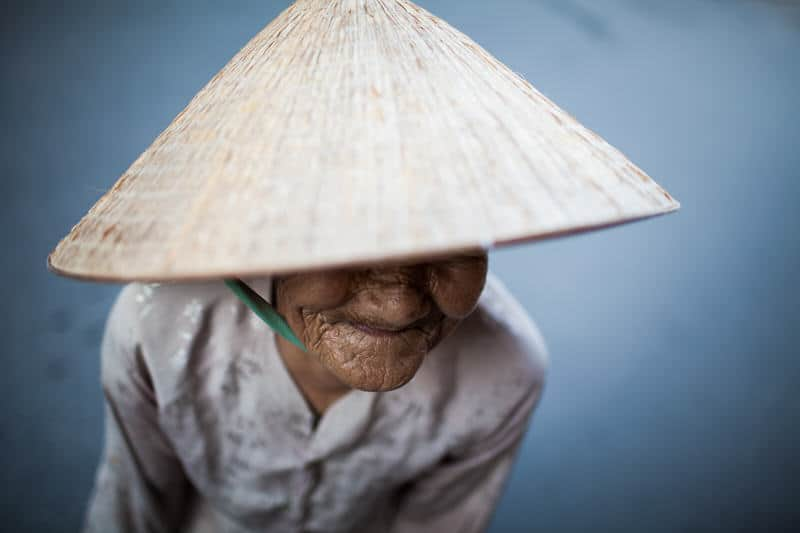 Woman in Vietnam with conical hat