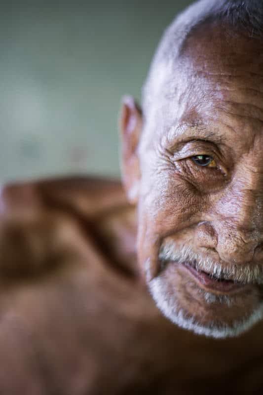 Old Lao man close up portrait
