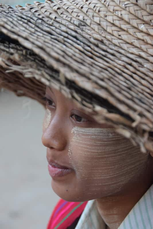Portrait of a young girl with thanaka in Myanmar