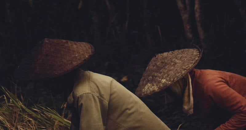 2 farmers in the fields in Laos