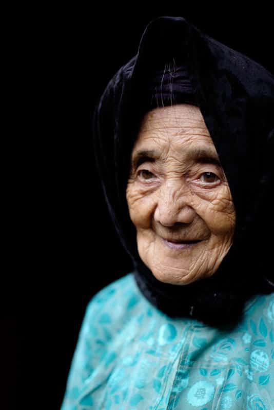 Portrait of an old Hmong lady in Vietnam