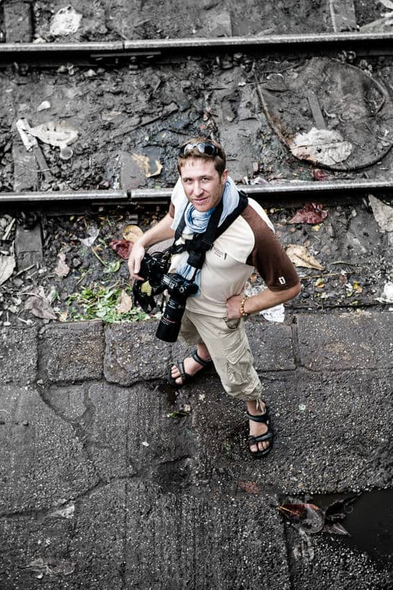 photographer Etienne Bossot taking photos in Myanmar