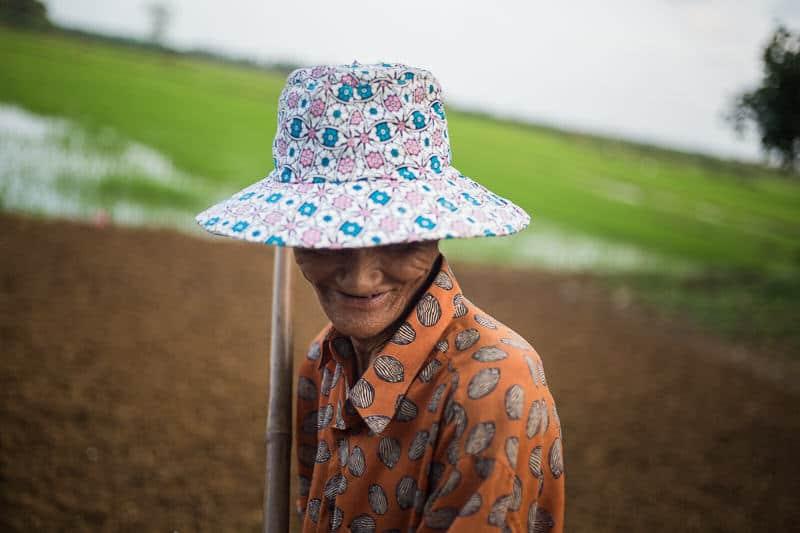 Man in a field in Vietnam
