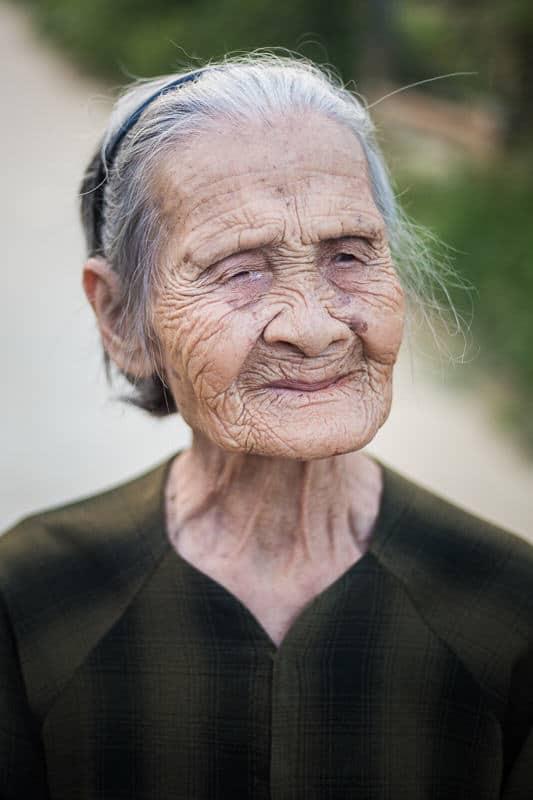 portrait of an old woman in Vietnam