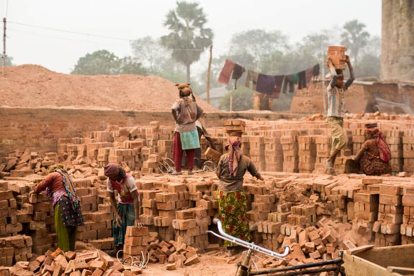 Bangali workers in a brick factory in Dhaka