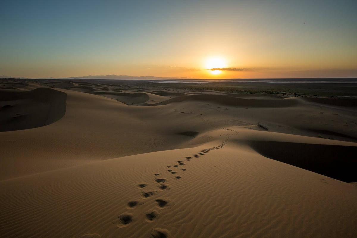 Iranian desert at sunset