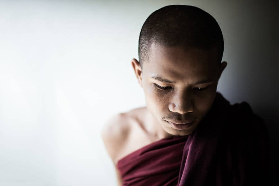 portrait of a novice monk in Myanmar