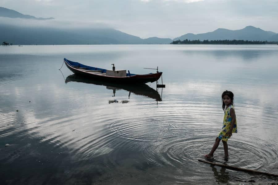 little girl in Lang Co lagoon