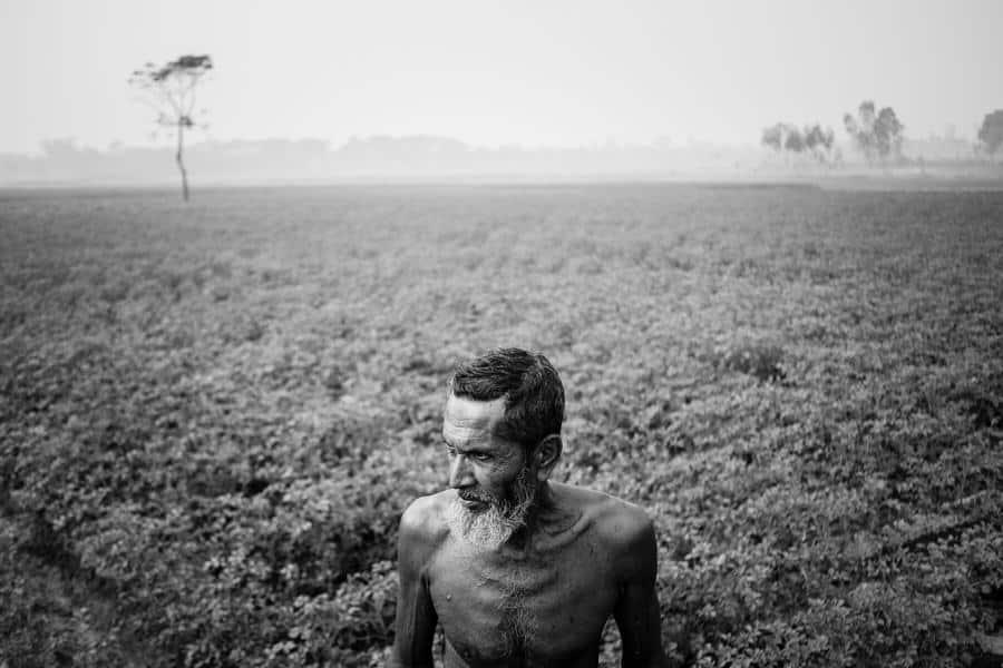 Old man in a field near Bogra