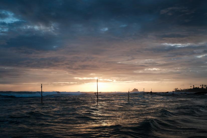 Stilt Fishing Poles At Sunset In Sri Lanka's Mirissa Taken On Location By Pics Of Asia Photography Tours