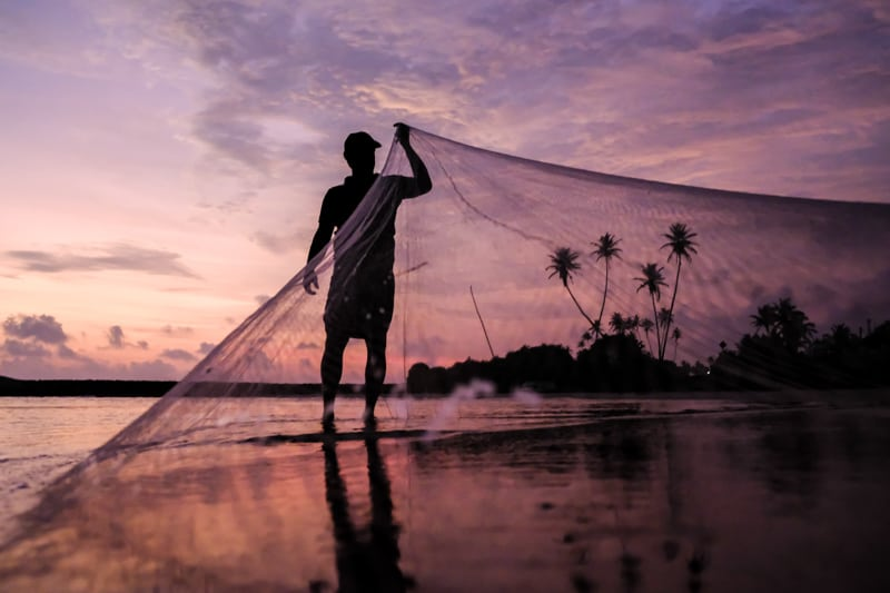 Against a purple sky at sunset, a Sri Lankan fishman draws in his net - Pics Of Asia Phototours And Workshops