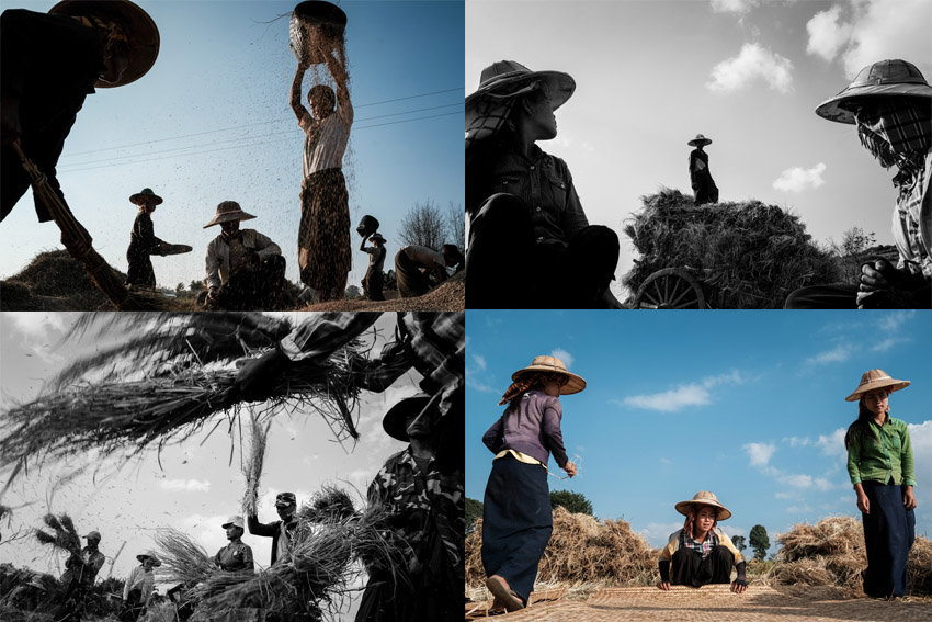 Ethnic tribes working in the fields during Pics of Asia Myanmar travel photography tour