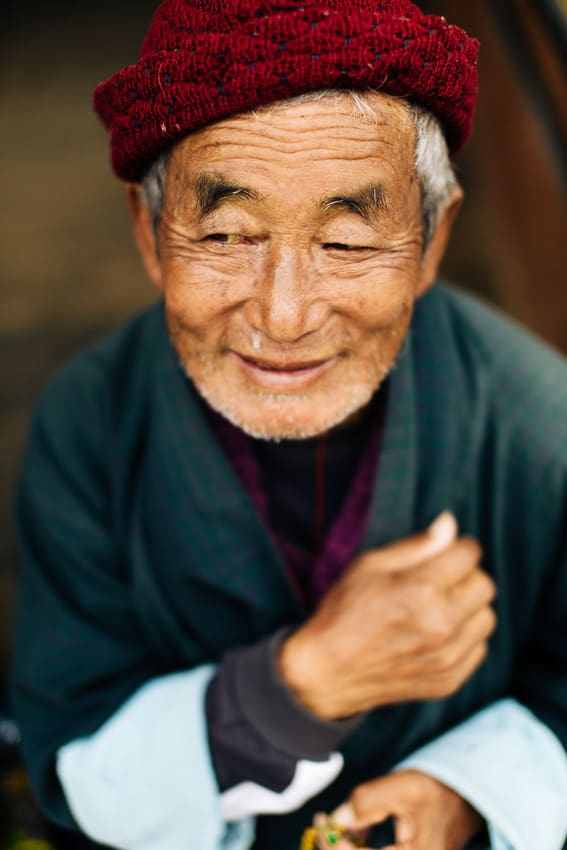 portrait of a smiling man in Bhutan