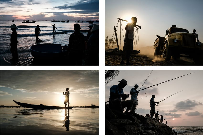 A mosaic of silhouettes to illustrate an article describing taking silhouette photos in Asia