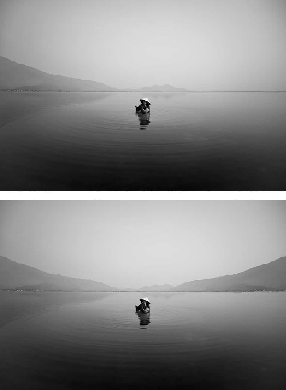 two different versions of an image of a woman harvesting oysters in Lang Co bay, Vietnam