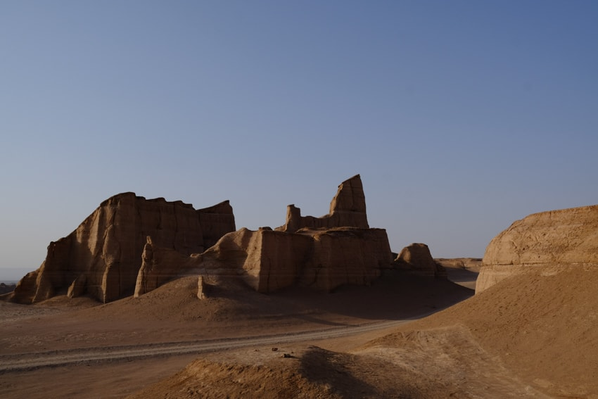 View of a mega yardang in the Kalut desert in Iran