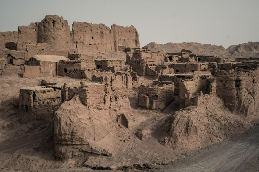 the old houses and the fort of the ancient city of Keshit in Iran