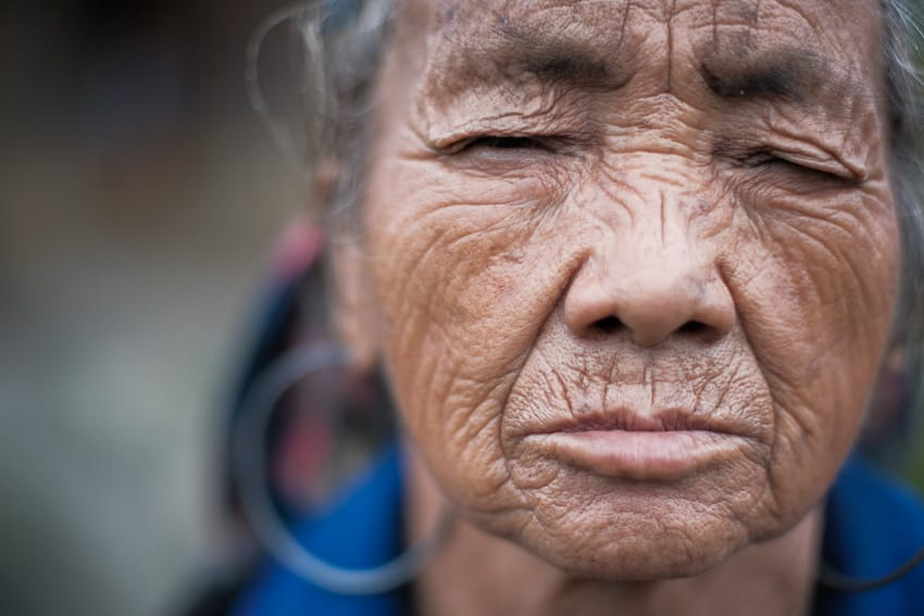 Portrait of an old Hmong woman taken in the area near Sapa during a Pics of Asia photography tour