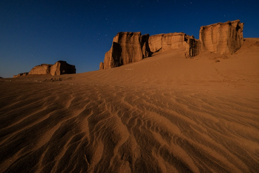 Night photo taken at full oon in the kalouts desert in Iran during Pics of Asia photography tour